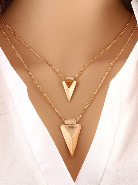 Image of Collana di moda ora chic & moderna triangolo con decori in metallo collana fuori in lega d'acciaio
