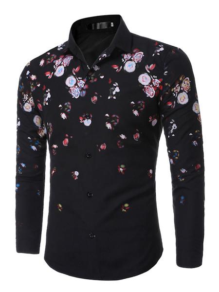 Men's Floral Shirt Printed Long Sleeve Casual Shirts фото