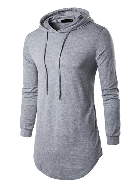 Grey Pullover Sweatshirt Hooded Long Sleeve Drawstring Cotton Hoodie For Men