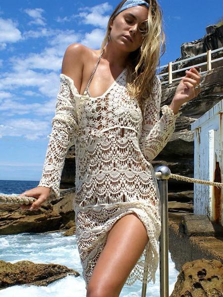 Crochet abricot manches longues V plage de cou la couverture de l'Ups couverture Ups féminines