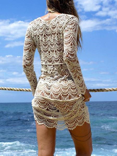 Milanoo / Camiseta de algodón mezclado De color albaricoque con cuello en V estilo de playa con manga larga