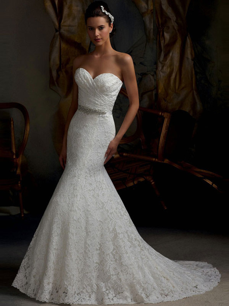 straps wedding dress lace applique beading organza pleated a-line chaple train bridal dress