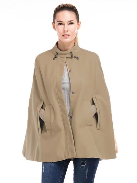 Khaki Cape Coat High Collar Long Sleeve Beaded Women's Outerwears