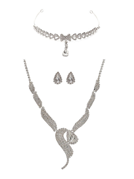Rhinestone Jewelry Set Wedding Twisted Bridal Necklace Set With Stud Earring And Tiara