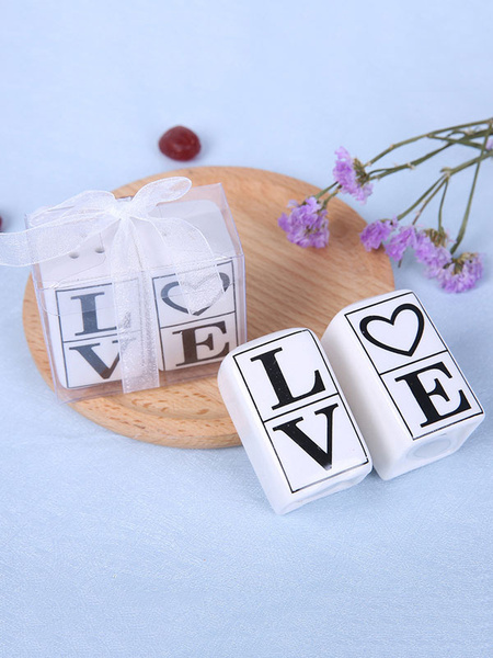 Salt And Pepper Shakers Wedding White LOVE Ceramic Gifts Souvenirs