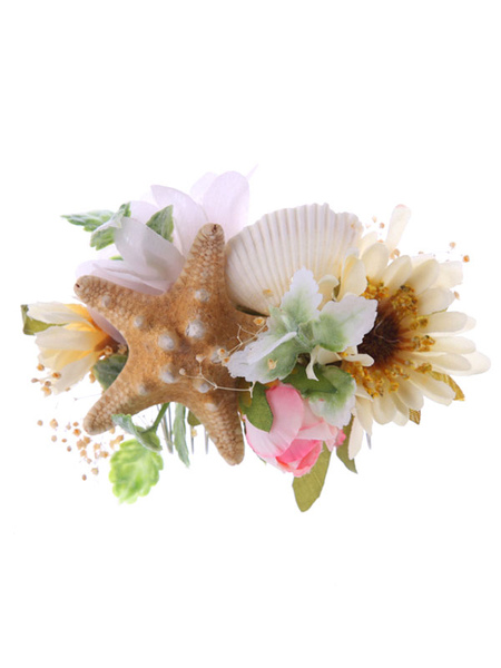 Beach Wedding Headpieces Comb Champagne Silk Flowers Starfish Shell Bridal Hair Accessories