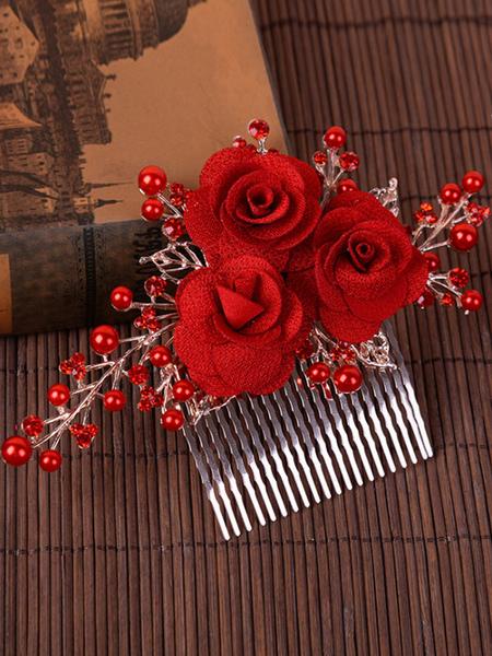Bridal Hair Comb Red Flower Pearl Rhinestone Wedding Hair Accessory
