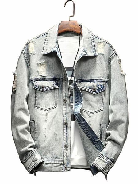Image of Men Denim Jacket Light Blue Spring Jacket Ripped Distressed Pocket Zipper Button Short Jacket