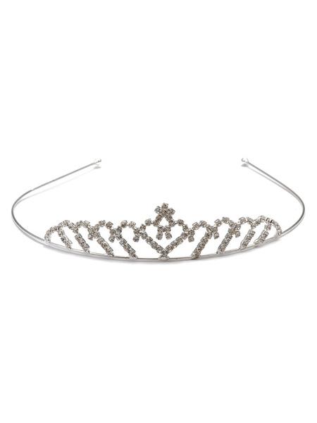 Silver Wedding Headpieces Tiara Headband Rhinestones Beaded Alloy Bridal Hair Accessories