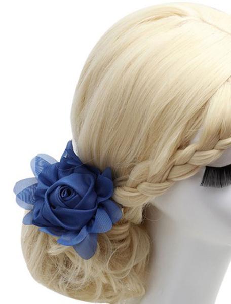 Wedding Blue Headpieces Flower Chiffon Bridal Hair Accessories