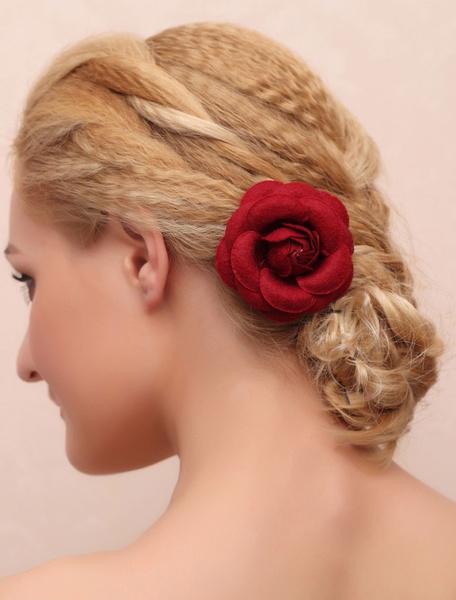 Flower Wedding Headpieces Dark Red Bridal Hair Accessories