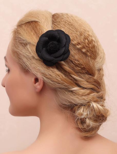 Black Wedding Headpieces Silk Flowers Bridal Hair Accessories