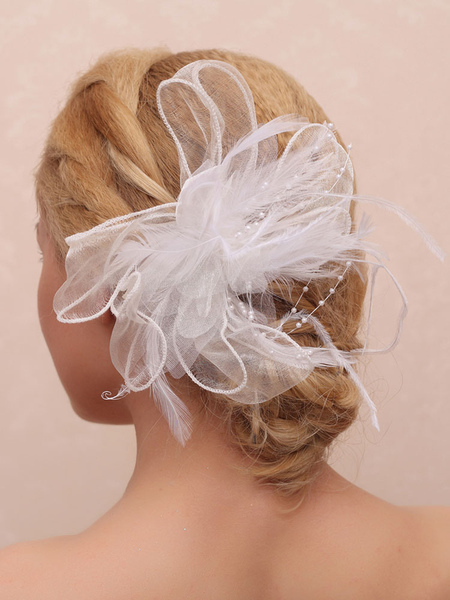 Feathers Wedding Headpieces Flower White Bridal Hair Accessories