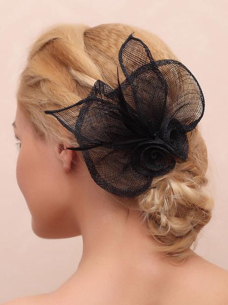 Black Wedding Headpieces Feathers Flower Bridal Hair Accessories