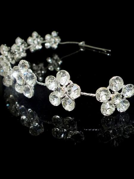 Silver Wedding Headpieces Rhinestones Beaded Headband Alloy Bridal Hair Accessories