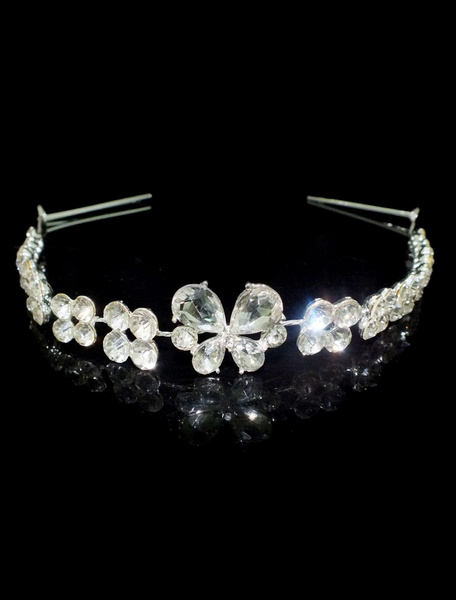 Wedding Silver Headpieces Rhinestones Beaded Hair Band Alloy Bridal Hair Accessories