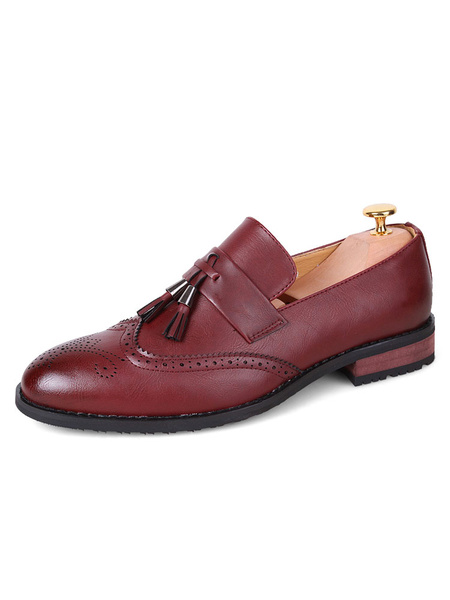 Men Loafers Burgundy Round Toe Slip On Shoes Brogue Shoes With Tassels
