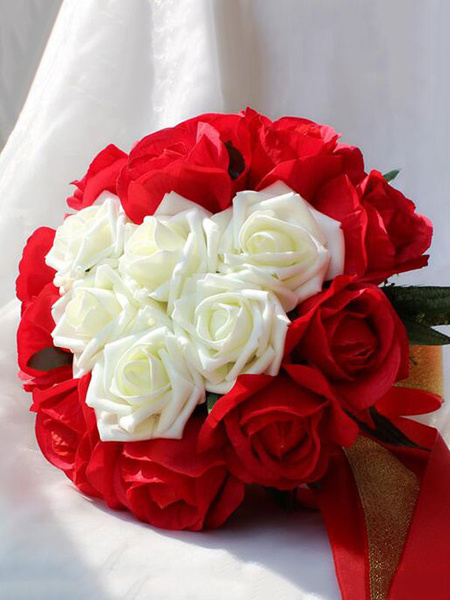Wedding Bouquet Red Sweetheart Rose Ribbon Bridal Hand Flowers Bouquets