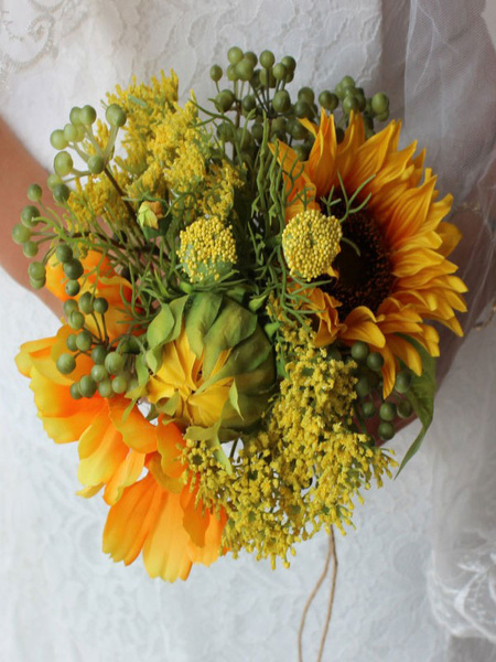 Wedding Bouquet Sunflower Yellow Synthetic Bridal Hand Flowers