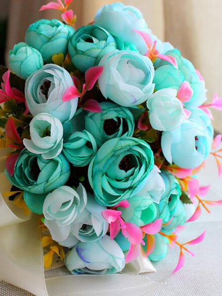 Wedding Bouquet Blue Flowers Synthetic Ribbons Bridal Hand Flowers Bouquets