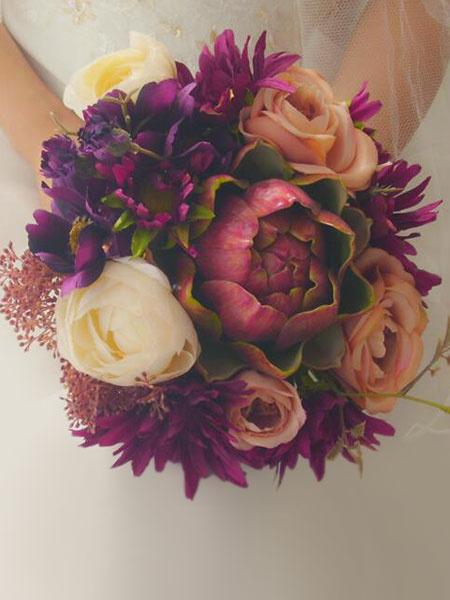 Wedding Flower Bouquet Succulent Purple Bridal Bouquets