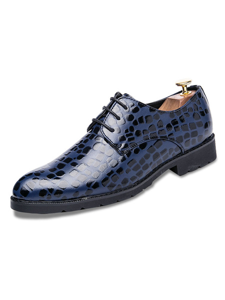 Blue Dress Shoes Round Toe Lace Up Printed Casual Business Shoes Men Shoes