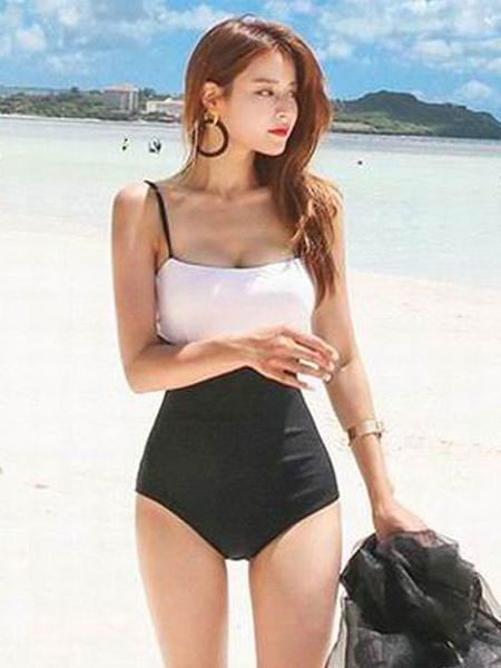 One Piece Swimsuit Two Tone Spaghetti Women Swim Bathing Suit