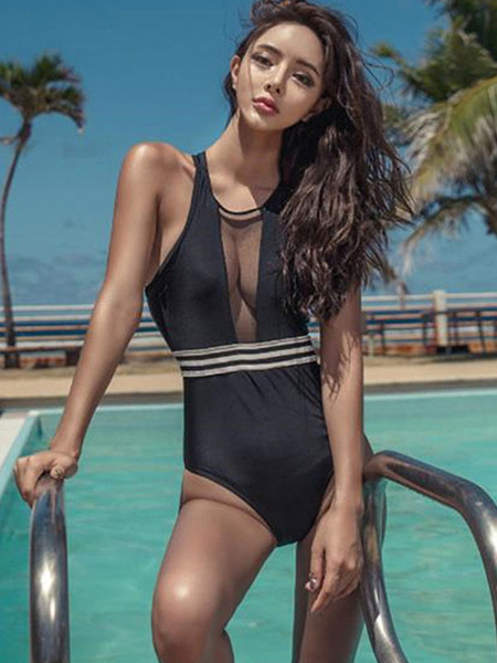 Black One Piece Swimsuit Sleeveless Striped Zip Women Bathing Suit