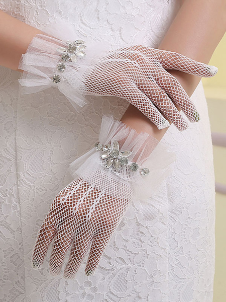Wedding Gloves White Vintage Fingertip Rhinestones Beaded Short Bridal Gloves