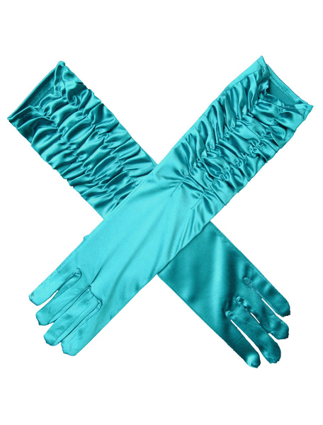 Wedding Gloves Long Satin Blue Elbow Length Ruched Bridal Gloves