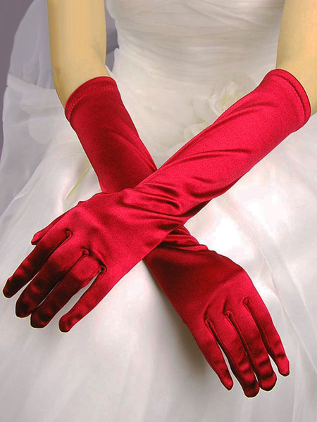 Black Wedding Gloves Elbow Length Satin Long Bridal Gloves