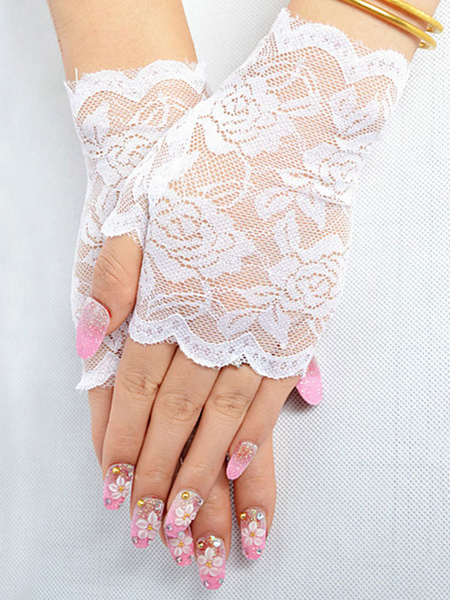 Lace Wedding Gloves Black Summer Short Bridal Gloves