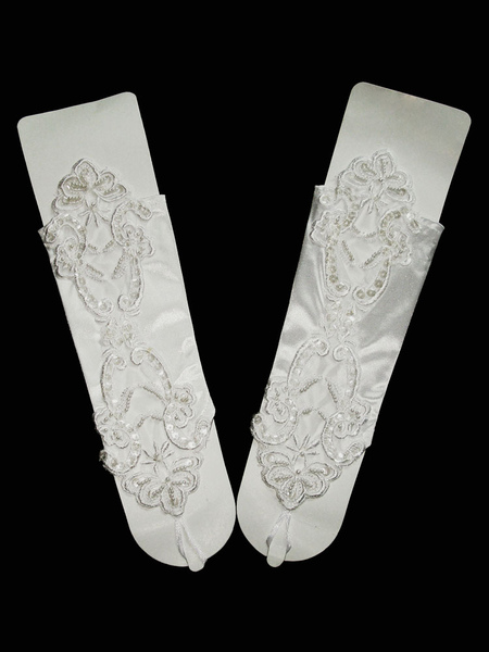 Wedding Gloves Beaded Fingerless Elbow Length Bridal Gloves