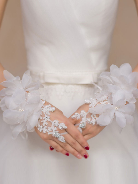 Flowers Gloves Wedding White Fingerless Bridal Short Gloves