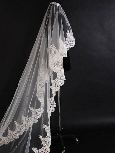 Wedding Veil Cathedral Lace Applique Ecru White Long Bridal Veil