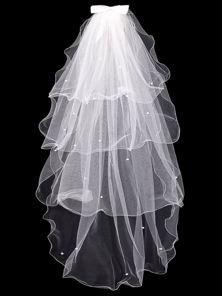 Wedding Veil White Waterfall Tulle Bows 4 Tiered Bridal Veil
