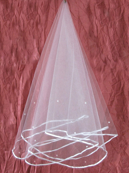 White Wedding Veil Tulle One Tier Beaded Ribbon Edge Bridal Veil