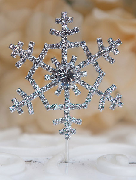 Cake Toppers Wedding Silver Snowflake Cake Decorations