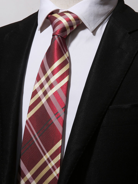 Men Neck Tie Plaid Stripe Magenta Casual Tie