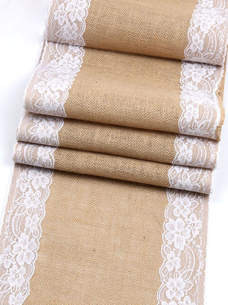 Wedding Table Runner Burlap Lace Tablecloth Flaxen Linen Rustic Bridal Shower Party Decoration