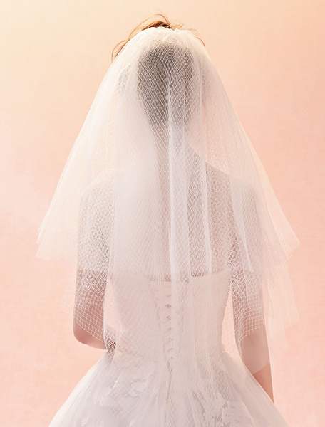 Wedding Veil Ivory Tulle Net Cut Edge Two Tier Bridal Veil