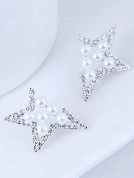 Silver Wedding Earrings Stars Pearls Stud Earrings Bridal Jewellery