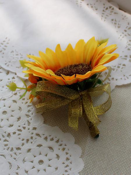 Image of Fiori di nozze sintetici del girasole giallo del fiore di prom di Boutonniere del fiore