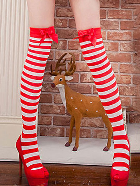 Image of Knee High Socks Striped Red Saloon Girl Stockings Football Girls Bows Black Women Halloween Costume Accessories