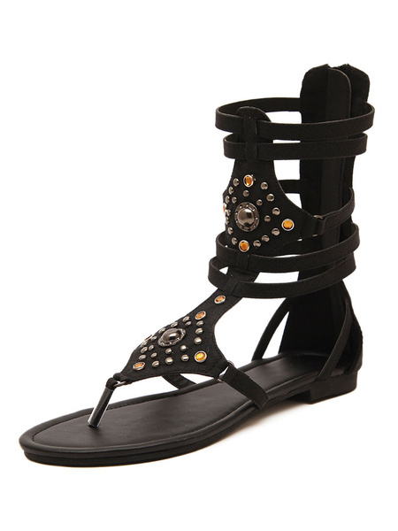 Image of Black Gladiator Sandals Flip Flop Sandals Women Thong Rhinestones Strappy Sandals