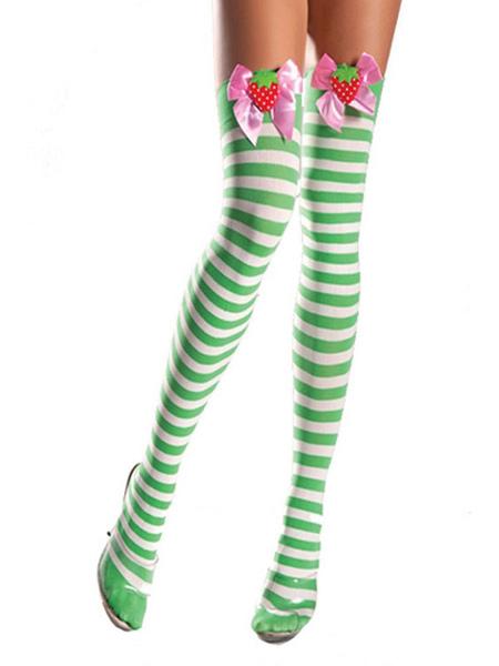 Image of Saloon Girl Stockings Football Girls Striped Knee High Socks Women Halloween Costume Accessories