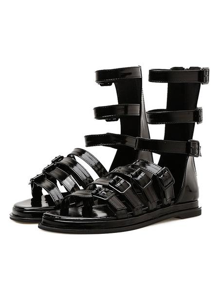 Image of Black Gladiator Sandals Women Open Toe Buckle Detail Mid Calf Flat Sandals