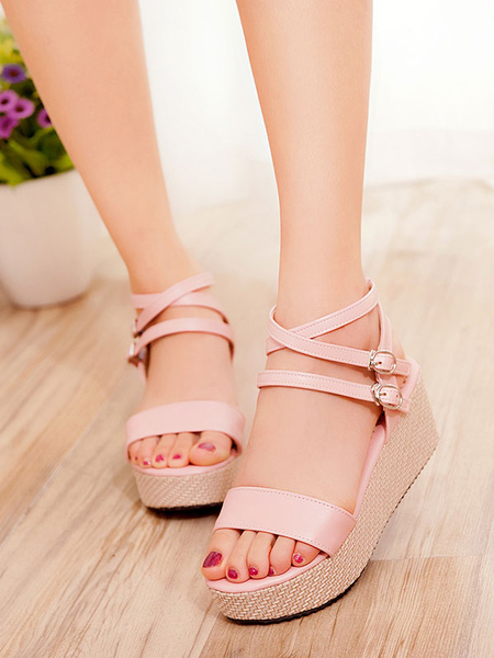 Image of White Wedge Sandals Women Platform Open Toe Strappy Sandal Shoes Flatform Sandals
