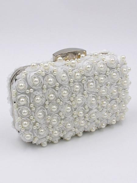 Wedding Clutch Bag White Purse Pearls Beading Bridal Party Evening Handbags (uk41642110) photo