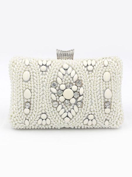 Wedding Clutch Purse Bag White Beading Pears Bridal Party Evening Handbags (uk41642126) photo